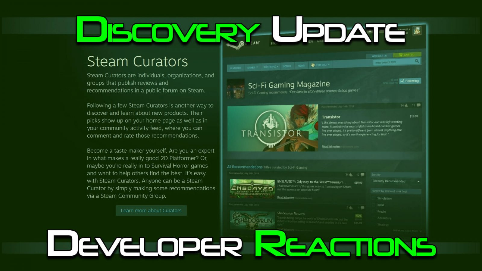 Indie Developers Have Mixed Reactions to Steam Algorithm Update