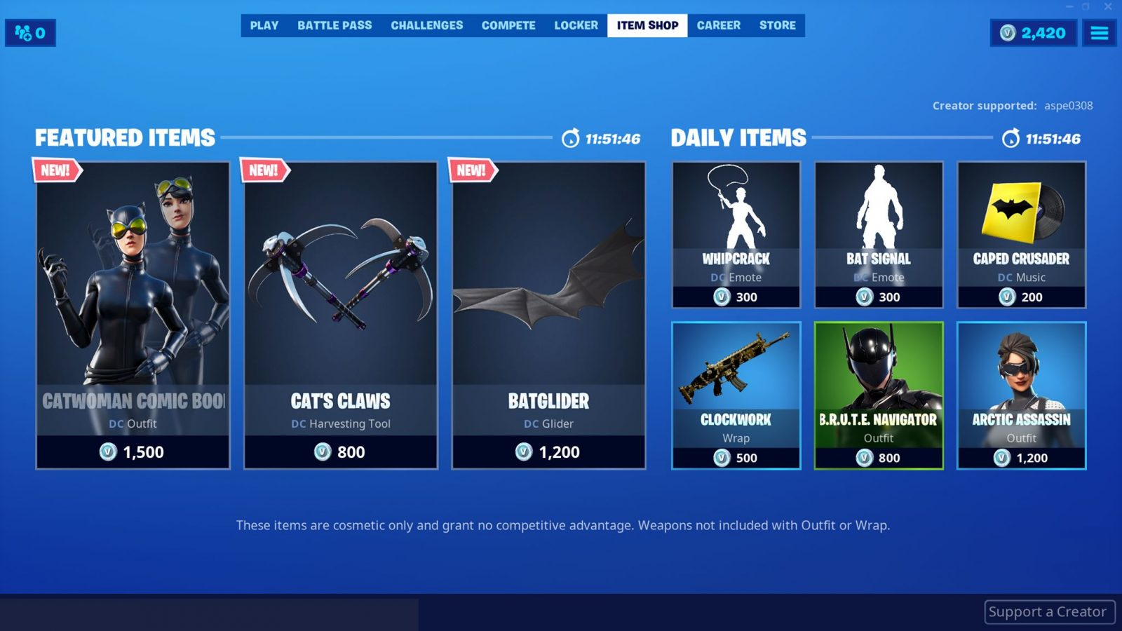 Item Shop is here! We can now get the Catwoman outfit and a few other DC cosmeti…