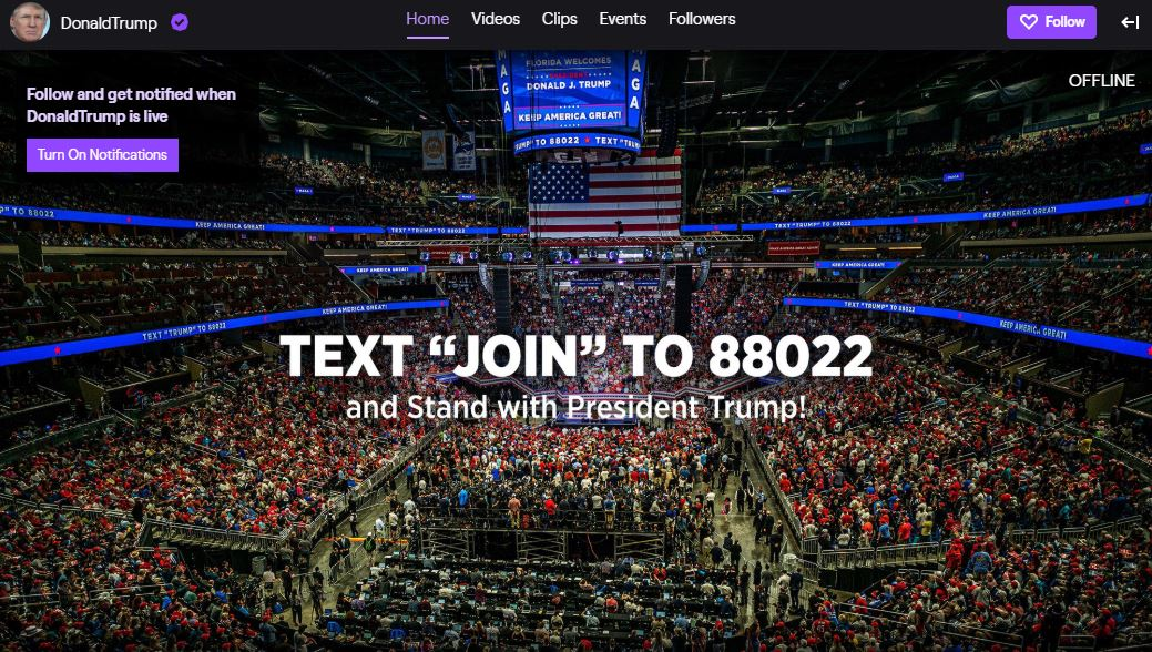 United States President Donald Trump Launches a Twitch Channel