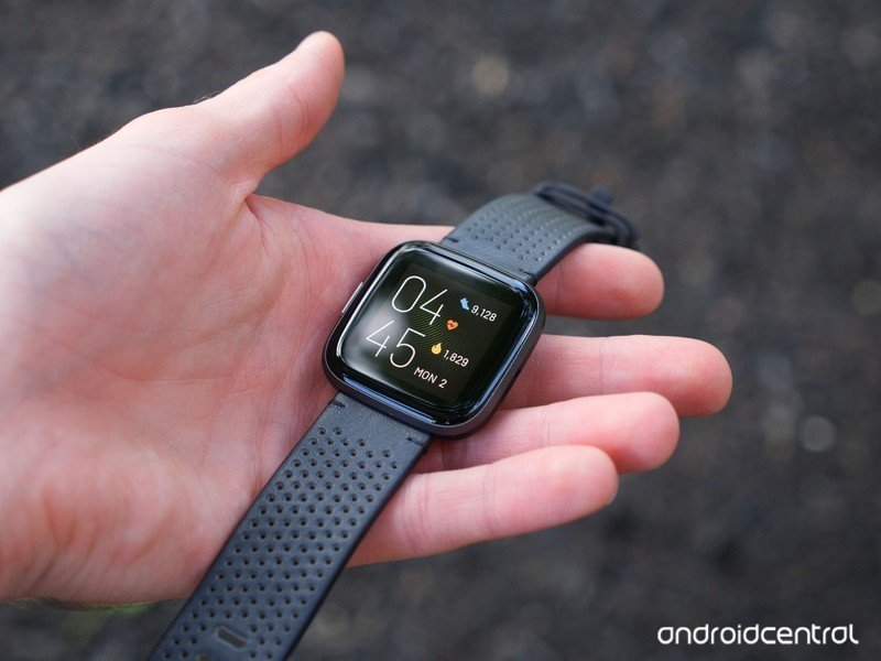 Fitbit Versa 2 with leather band
