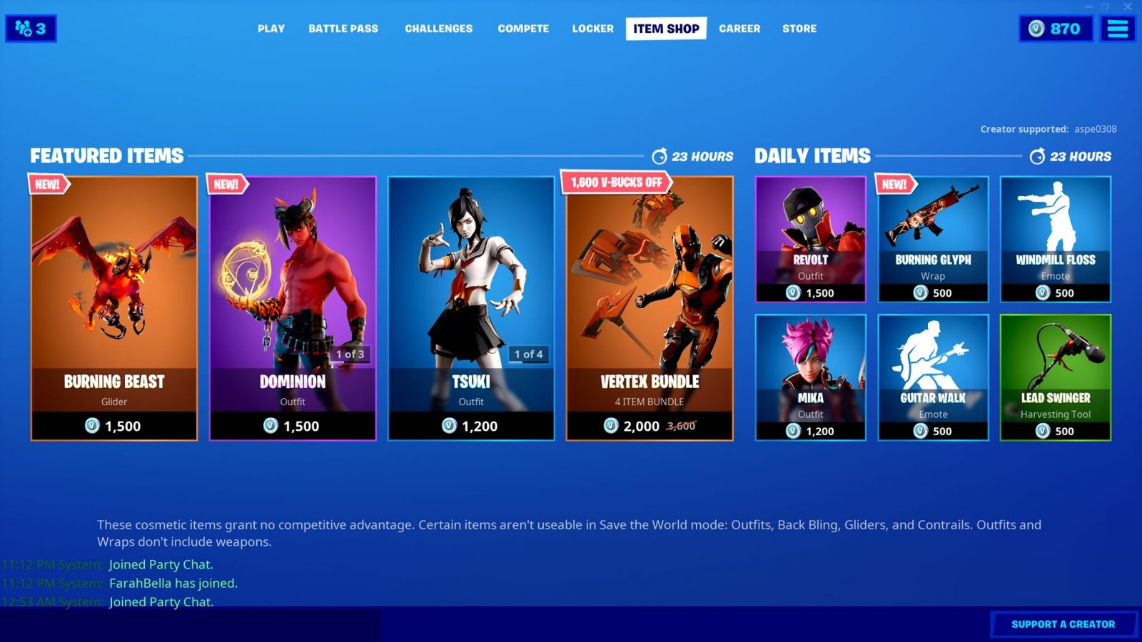 Today's Item Shop! New glider, wrap, and outfit, as well as the Vertex Bundle!  …