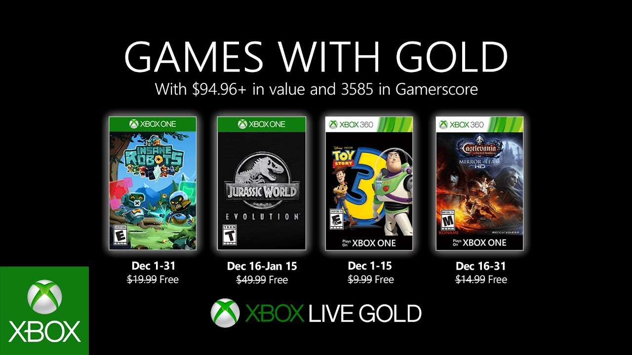 Games With Gold for December 2019 Announced