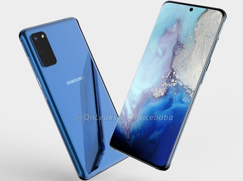 Galaxy S11e renders show curved display with centered hole-punch, triple rear cameras