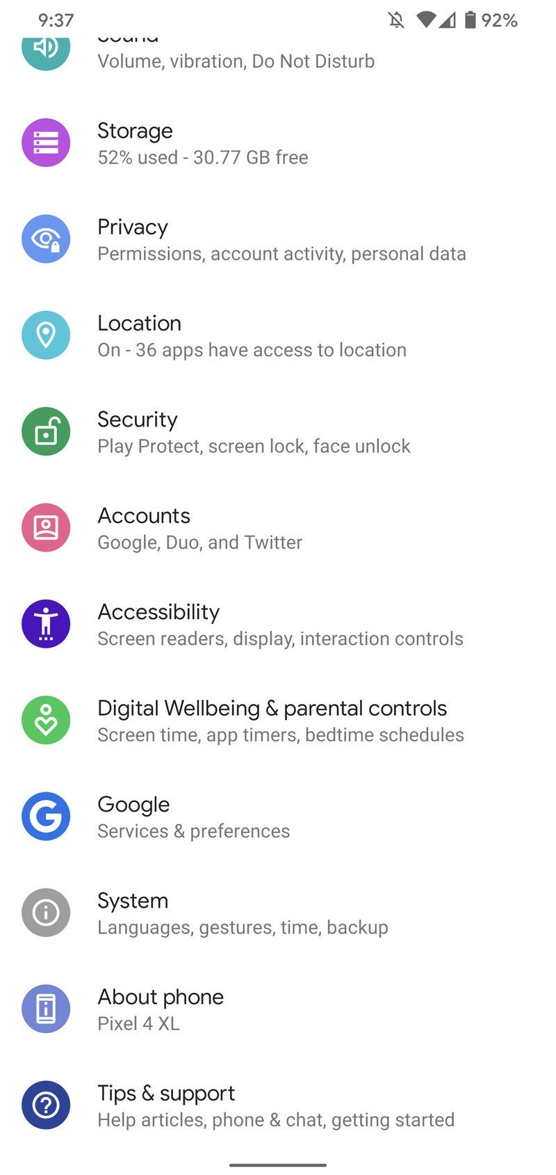 Android 10 settings page