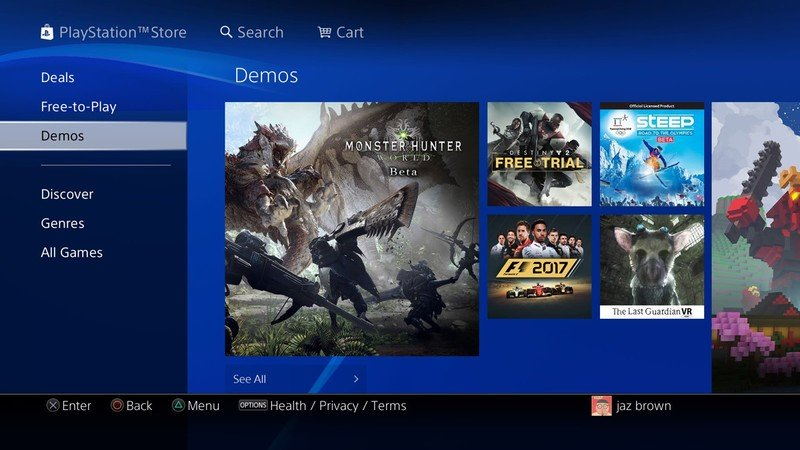 PS4 game demos