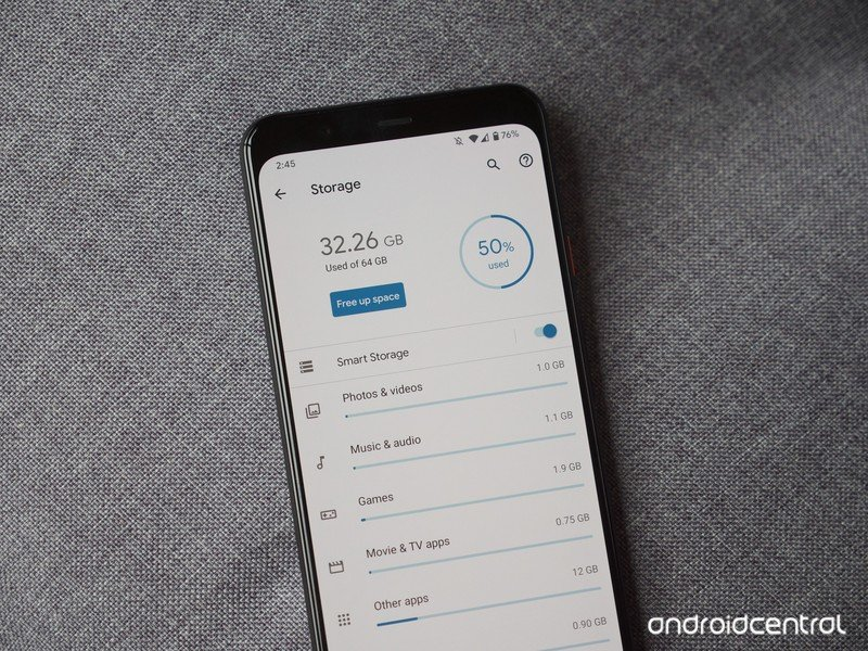 Pixel 4 XL showing the storage page
