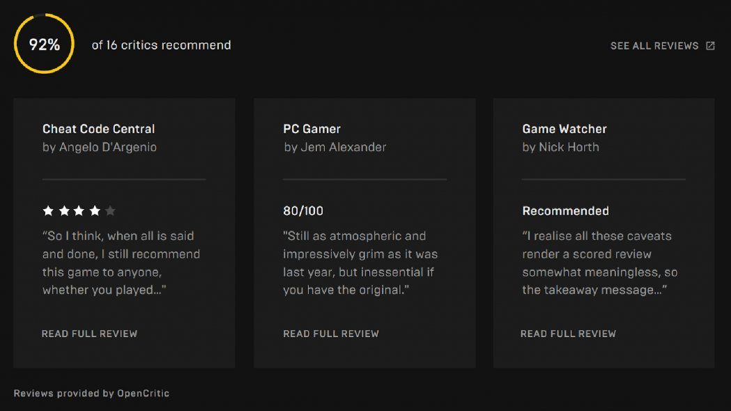 Epic Games Store Development Update Gives First Look at Reviews and Wishlists