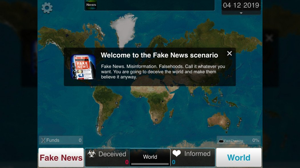 New Plague Inc. Fake News Scenario Conquers the World with Misinformation