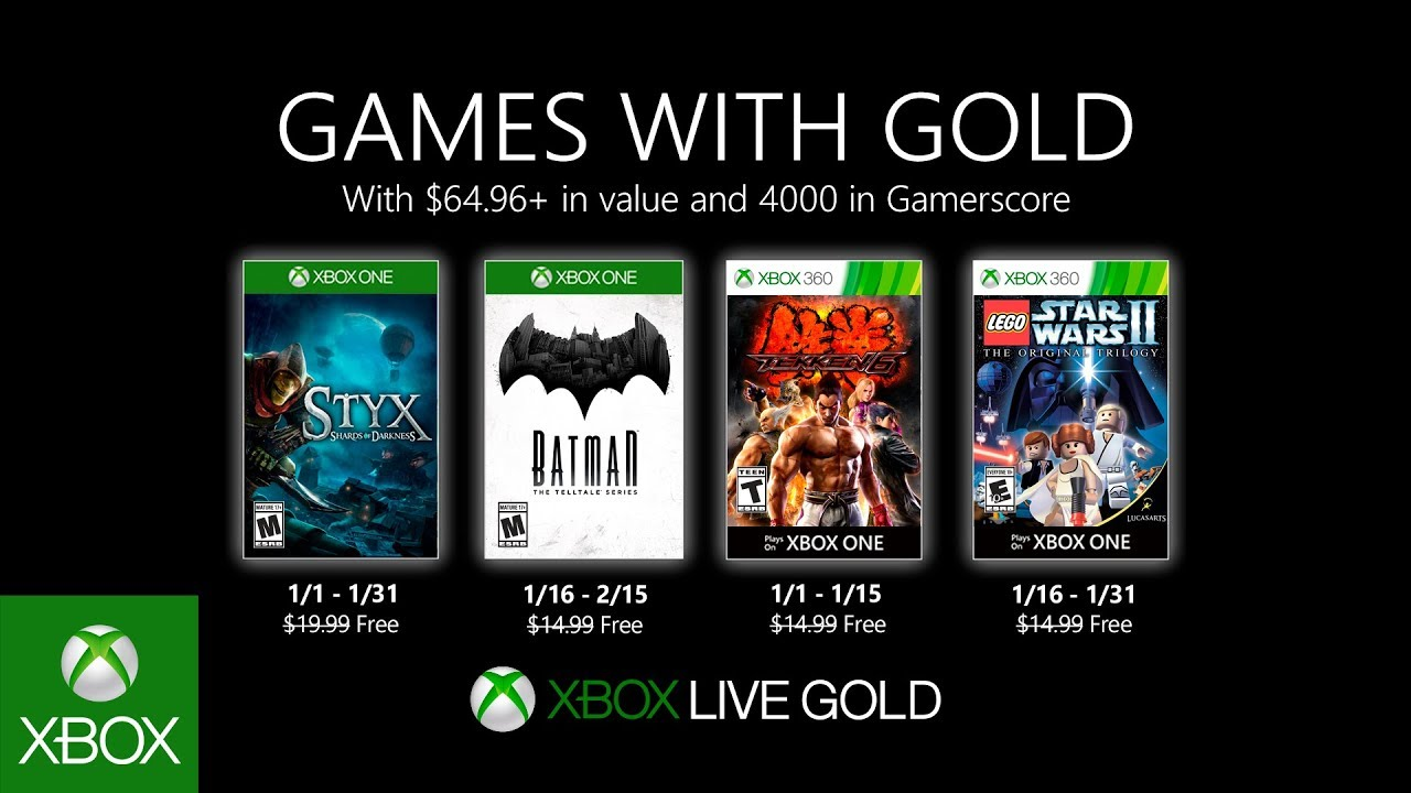 Games With Gold for January 2020 Announced