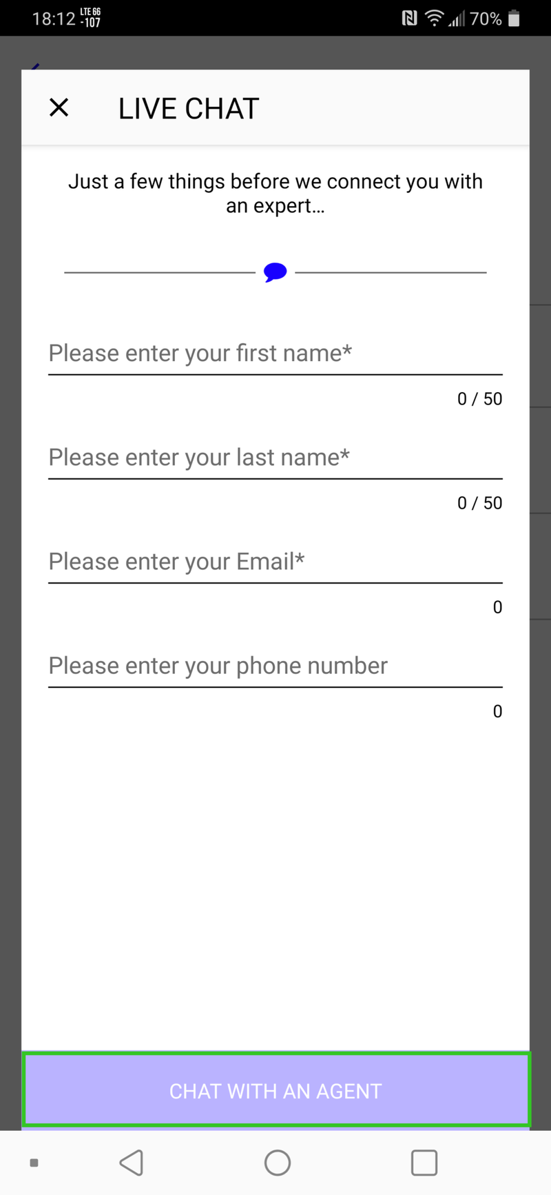 Visible app contact