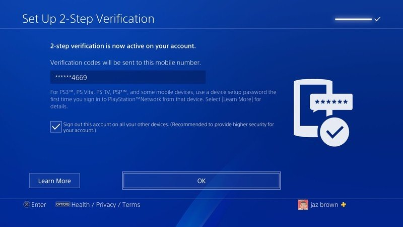 PS4 screen 2-step OK confirm